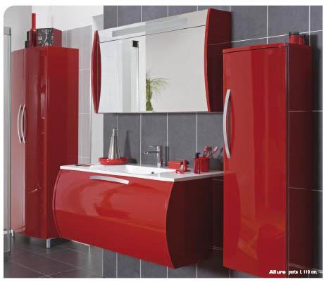 meuble salle de bain double rouge